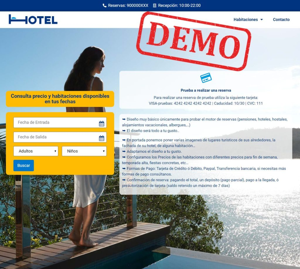 demo booking engine for hotels